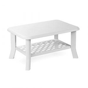 Mojawo Gartentisch Kunststoff 90x60cm Weiß rechteckig Balkontisch Gartentisch Couchtisch Beistelltisch Terrassentisch Bistrotisch
