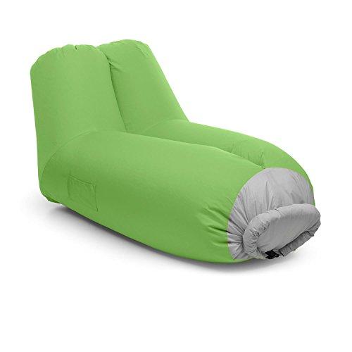 blumfeldt Airlounge • Air Sofa • Luftsofa • Aufblassofa • Luftmöbel • Maße: 90 x 80 x 150 cm • Camping • Reisen • Pool • Meer • inklusive Transportrucksack • sehr Robustes 300-D-Polyester • grün
