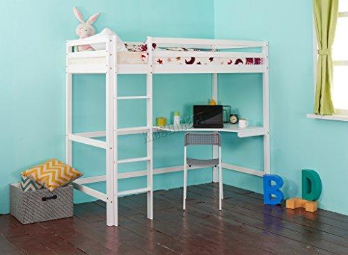 FoxHunter Kinder Hochbett, Holzrahmen, Etagenbett mit Schreibtisch, Einzelbett, 91cm, Weiß, ohne Matratze