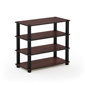 Furinno Laptoptisch 13080ex/BK Turn-s-Tube 3-Tier-Schuhregal, Espresso/schwarz, Dark Cherry and Black, 4-Tier Single