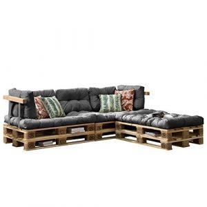 [en.casa] Euro Paletten-Sofa – DIY Möbel – Indoor Sofa mit Paletten-Kissen / Ideal für Wohnzimmer – Wintergarten (3 x Sitzauflage und 5 x Rückenkissen) Grau
