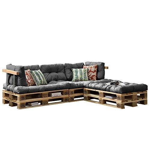 [en.casa] Euro Paletten-Sofa - DIY Möbel - Indoor Sofa mit Paletten-Kissen / Ideal für Wohnzimmer - Wintergarten (3 x Sitzauflage und 5 x Rückenkissen) Grau