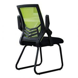 Dall Bürostuhl Drehbarer Handlauf Ergonomisch Bow-Form Mesh-Stuhl Stahlrahmen Besprechungsstühle Atmungsaktiv Langlebig (Farbe : Grün, größe : Black Frame)