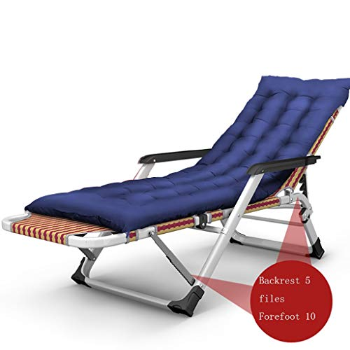 SAN_Y Klappbarer Mittagspause-Stuhl, Sonnenliege, lässiger tragbarer Bürostuhl, Nickerchenbett, Sessel, Strandkorb, Dicke Baumwollunterlage (Farbe : Blau)