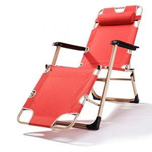Wenxin Recliner Folding Mittagspause Stuhl Bürostuhl Faule Stuhl Multifunktionsfreizeit Strandkorb (Farbe : Rot)