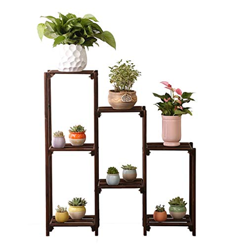 ZHYXJ-Flower Stand Blume Rahmen Dekoration Rahmen Mehrschichtige Holz Indoor Outdoor Garten Retro Pflanze Stehen StäNder Schuhregal Bodentyp 70x90 cm 001