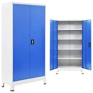 ROMELAREU Büroschrank Metall 90 x 40 x 180 cm Grau und Blau Möbel Schränke Aufbewahrungsschränke & Schließfächer