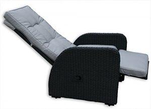 KMH®, Polyrattan Liegestuhl Bob inklusive Auflage! (schwarzes Polyrattan – graue Auflage) (#106024)
