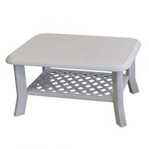 Gartentisch NISO 90x60xH47cm Vollkunststoff/Weiß – Campingtisch Beistelltisch Loungetisch Couchtisch