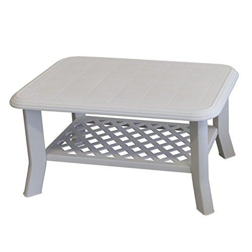 Gartentisch NISO 90x60xH47cm Vollkunststoff/Weiß - Campingtisch Beistelltisch Loungetisch Couchtisch