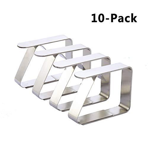 Vegena Tischdeckenklammer 10 Stück, Edelstahl Tischdeckenklammer Flexibel Tischtuch Clips Ideal für Restaurant Hochzeiten Partys Picknicks für 2,5-3,5 cm Desktop-Silber