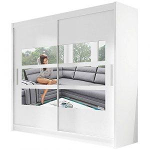 Ye Perfect Choice Kleiderschrank mit Spiegeln Bravari III Moderner Schrank Schiebetürenschrank Schwebetürenschrank Schlafzimmerschrank Garderobe Elegante Schiebetür Garderobeschrank 180cm (Weiß)