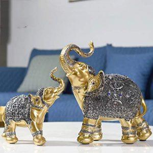 YUN Nordic Glücklicher Elefant Paar Ornamente Stadthaus Büro TV Kabinett Veranda Schuhschrank Wein Kabinett Dekoration Heimtextilien (Farbe : Silber)
