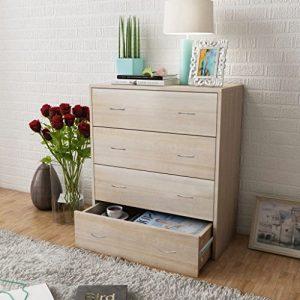 GoodWork4UEu Kommode mit 4 Schubladen 60×30,5×71 cm Eichenbraun Möbel Schränke Buffets & Sideboards