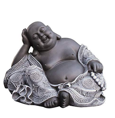 Steinfigur Buddha in Schiefergrau, Figur Deko Statue Garten frostsicher