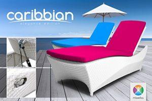Miweba Rattan Sonnenliege Carribian Elegance (Rattan: Weiß – Polster: Pink)