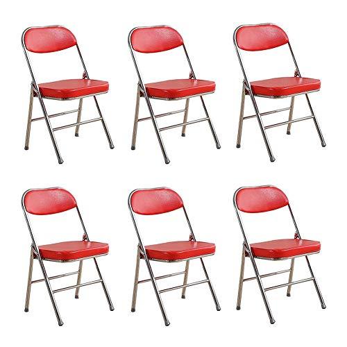 KLEDDP Klappstuhl Bürostuhl Garten Hochzeit Party Event Möbel Stuhl Tasche Set von 6 Stapelstuhl (Farbe : Rot)