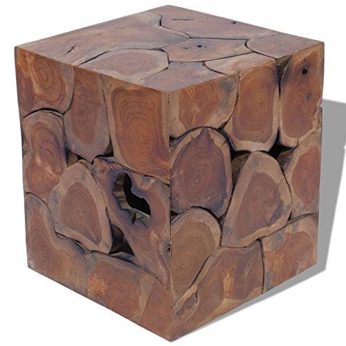 Festnight Hocker Sitzhocker aus Massives Teak Barstuhl Holzhocker 40x40x45cm als Beistelltisch Kaffeetisch