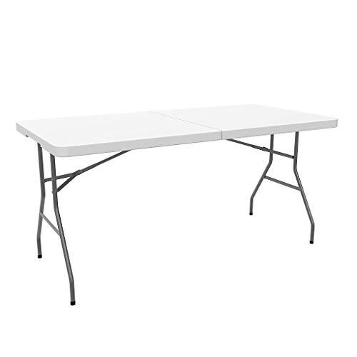 Sotech Gartentisch klappbar 152 x 76 x 74 cm, Campingtisch mit Tragegriff, Bierzelttisch breit, für Camping BBQ Party Buffet Hochzeit, weiß