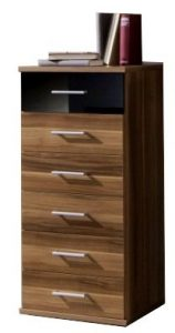 Adtrad Schmale Kommode–Walnuss und Schwarz–6Schubladen mit Top Schublade in kontrastierendem Schwarz Hochglanz–Deutsch Made Qualität–Flach Verpackt zur Selbstmontage–Metall Griffe
