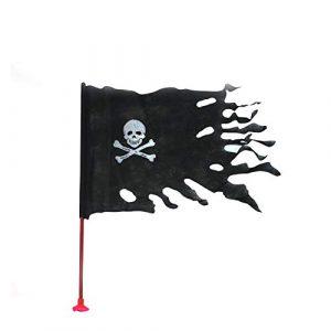 DierCosy Piraten-Stock-Flagge Schädel Skelett Knochen Hand Waving Flags Mini Schwarz Jolly Roger Flag Hand 14 gehaltene * 21CM Dekor für Büro-Schreibtisch-Garten Bar Festival Feste 1PC