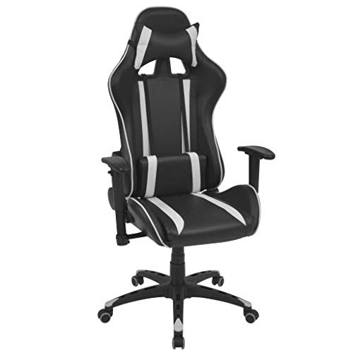 cangzhoushopping Neigbarer Racing-Bürostuhl Kunstleder Weiß Möbel Büromöbel Büro- Schreibtischstühle