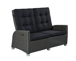 POLY RATTAN Luxus 2 Sitzer Lounge Rocking Sofa verstellbare Rückenlehne grau