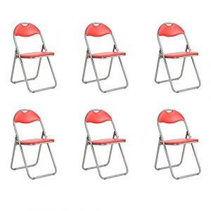 Fanilife Klappstühle Set von 6Metall Faltbare Esszimmerstühle mit PVC Sitz Retro Office Empfang Garten, der faltbar Schreibtisch-Stühle rot