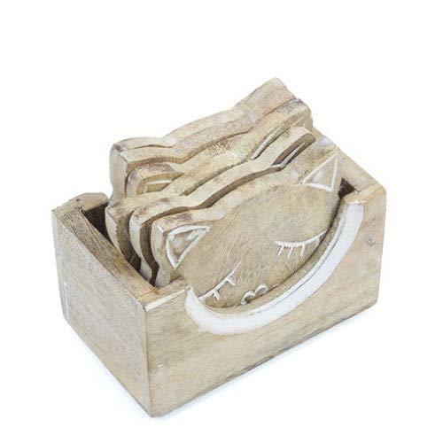 Set aus 6geschnitzten Holz-Katzen-Untersetzern in einem Holzständer