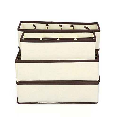 Sxwz 4 stücke Multi-Size BH Unterwäsche Organizer Faltbare Home Storage Box Vlies Kleiderschrank Schublade Closet Organizer für Schals,Beige,4setsof6/7/8/24