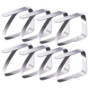 Blooven 8 Stück Tischtuchklammern Edelstahl Tischabdeckungsklemmen Tischdecke Clips Tischtuch Clips – Silber