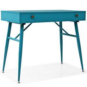 binzhoueushopping Schreibtisch mit Schublade, 90 x 50 x 76,5 cm, MDF + Stahl, Büro-Organizer antik, Grün