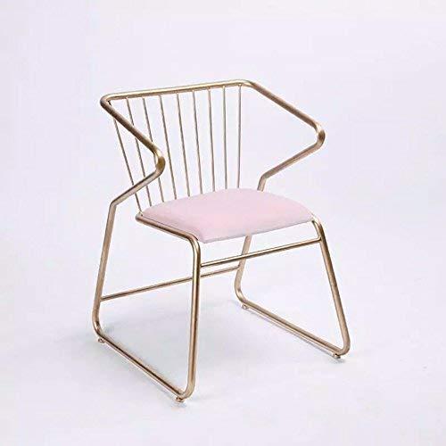 HYZ Atmosphärische Mode Bar Stuhl/Hocker, praktische Esszimmerstuhl, Schmiedeeisen Painted Bürostuhl,Rosa