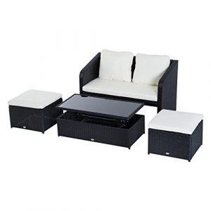 Outsunny 4-TLG. Polyrattan Gartenmöbel Sitzgruppe Gartenset Sofagarnitur Garnitur Lounge mit Kissen Schwarz 1 x Doppelsofa 1 x Couchtisch 2 x Hocker