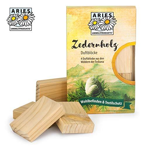 ARIES Zedernholz Duftblöcke - 100% natürlicher Schutz gegen Motten im Kleiderschrank - 4er Set