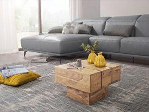 KADIMA DESIGN Beistelltisch SIRA Massivholz Akazie Wohnzimmertisch 44 x 44 x 30 cm Couchtisch Massiv Landhaus Cube quadratisch