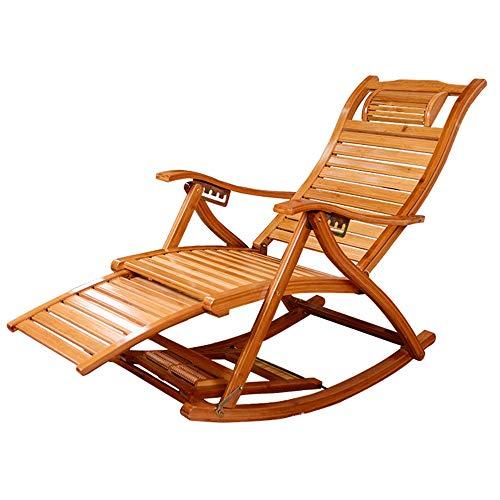 ZHIRONG Klappstuhl Bambus Schaukelstuhl Einstellbar Lounge-Sessel Balkon, Ältere Menschen, Liege Draussen Liegestühle Gartenstuhl