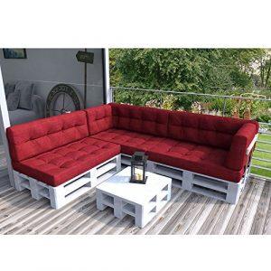 Vicco Palettenkissen Palettenmöbel Ecksofa Couch Sitzecke inkl. Europalette Palettensofa Palettenpolster Kissen Sofa Polster Indoor Outdoor (Rot)