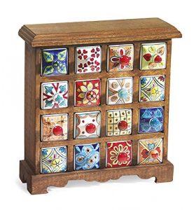 Klass Home Collection® Premium indische handgefertigte 16 Schubladen Keramik Gewürz-Teekiste handbemalt Mangoholz Möbel Design Kleine Kommode Aufbewahrung für Ornamente Dekorationen Fair Trade