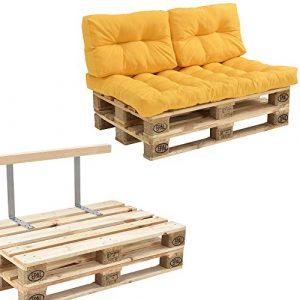 [en.casa] Euro Paletten-Sofa – DIY Möbel – Indoor Sofa mit Paletten-Kissen/Ideal für Wohnzimmer – Wintergarten (1 x Sitzauflage und 2 x Rückenkissen) Senffarben – inkl. 2 Europaletten + Rückenlehne