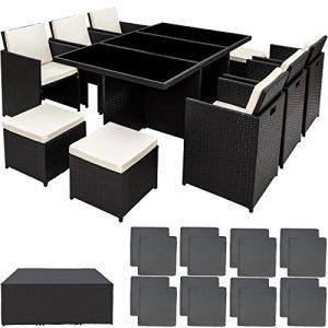 TecTake Poly Rattan Aluminium Gartengarnitur Sitzgruppe 6+1+4, Edelstahlschrauben – Diverse Farben – (Schwarz | Nr. 401454)