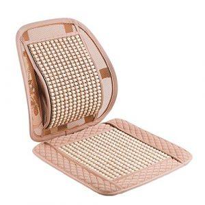PENGFEI Auto-Sitzauflage Kissen Sommer Holzkugel Naturholz Perlen Massage Sommer- Bürostuhl Cooles Pad, 4 Farben, 1/2-Pack (Color : Beige, Size : 2-Pack)