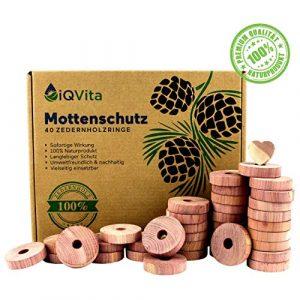 Natürlicher Mottenschutz aus Zedernholz – 40 Mottenringe – 100% Naturprodukt – Hervorragende Mottenabwehr für Kleiderschrank – BIO – Mottenfalle – Chemiefrei