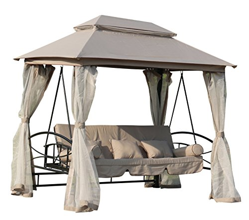 FoxHunter Garten Schaukel Hängematte 3-4-sitzer-Stuhl Bench Möbel Bett Liege Pavillon Shelter Himmel Patio Outdoor fhsb04taupe