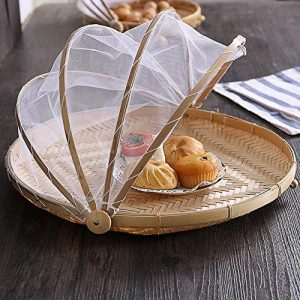 Obstschale Mit Fliegenschutzhaube Bambus Schale Korb Aus Bambus Geflochten Dekorativ Und Praktisch Buffet Im Freien Schutz Vor Insekten Durch Feines Moskitonetz, Leicht Dekorativ Und Praktisch Für