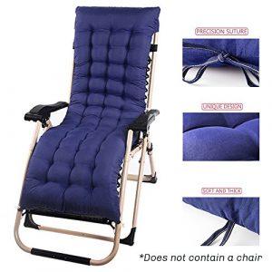 Interlink-UK Auflage für Gartenliege Sonnenliege Liegestuhl Auflage Deckchair Auflage Kissen Liegenauflage Baumwolle 153x53x7cm (Blau)