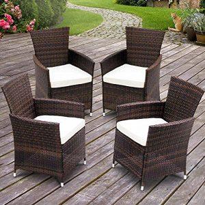 Polyrattan Gartensessel | Braun, mit Sitzkissen, im 4er-Set | Gartenstühle, Gartenmöbel, Rattanstuhl, Relaxsessel