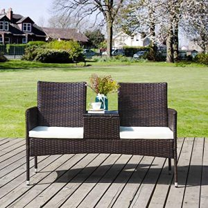 Merax Poly Rattan Garten Möbel Set Balkon Wohnzimmer Pool Möbel Set Gespräch-Stuhl Set Inklusive 2-sitzigen Sofa Stuhl, temperierter Glastisch, Loveseat Style, Braun