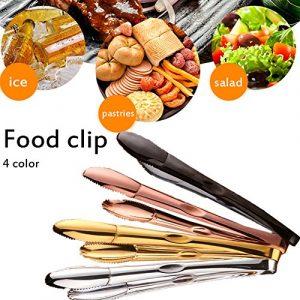 Küche Edelstahl Zange, Anti Rutsch – und einfachen Griff Rose Gold Titan vergoldet Klemme Nahrungsmittel- und Clip, praktische Utensil für Kochen, Grill, Buffet, Salat, Eis roségold