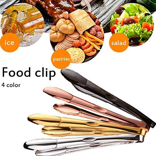 Küche Edelstahl Zange, Anti Rutsch - und einfachen Griff Rose Gold Titan vergoldet Klemme Nahrungsmittel- und Clip, praktische Utensil für Kochen, Grill, Buffet, Salat, Eis roségold